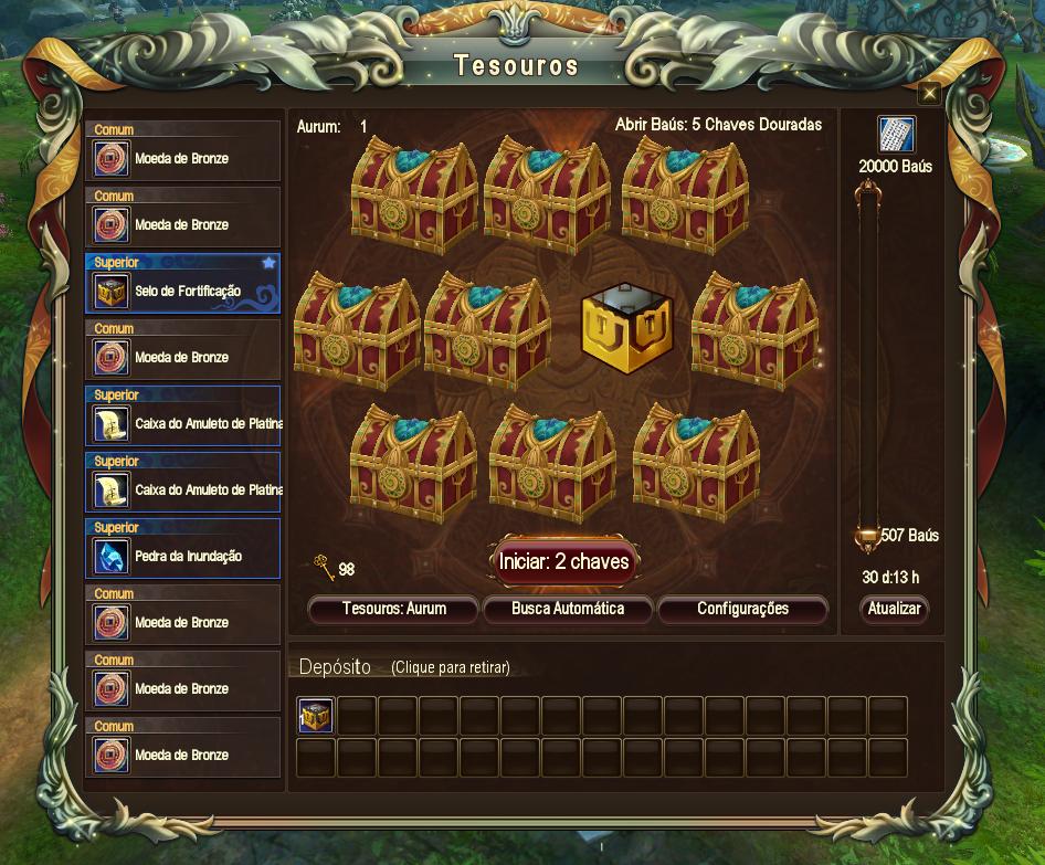 interface do sistema de tesouro de perfect world mostrando os baús e o prêmio extra no topo direito