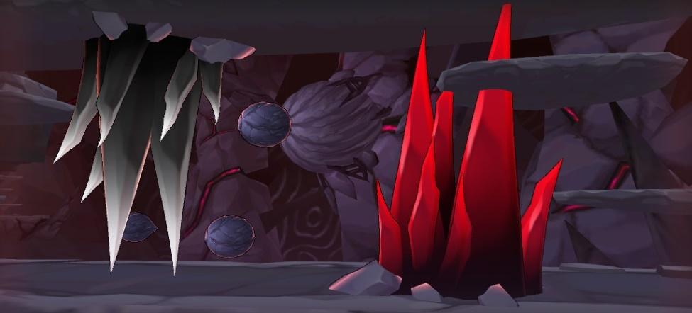 Espinhos cinza e vermelhos
